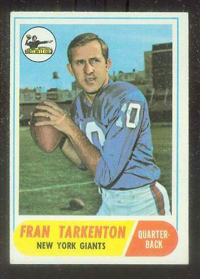 1968 Topps FB #161 Fran Tarkenton (NY Giants) Football cards value