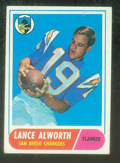 1968 Topps FB #193 Lance Alworth [#b] (Chargers) Football cards value