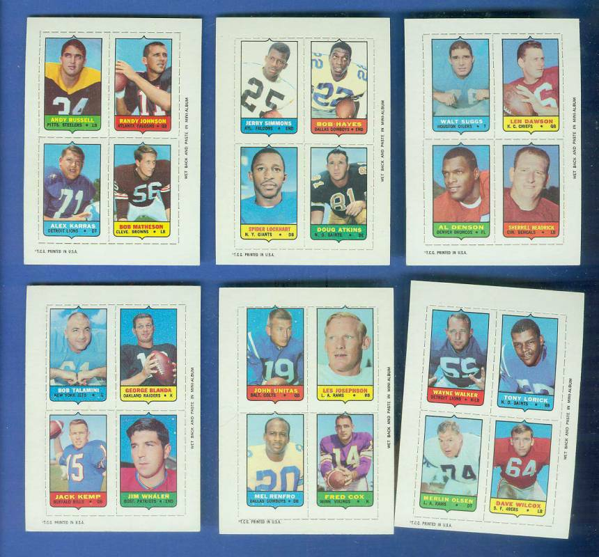 1969 Topps Four-in-One FB #49 Andy Russell/ALEX KARRAS/Randy Johnson Football cards value