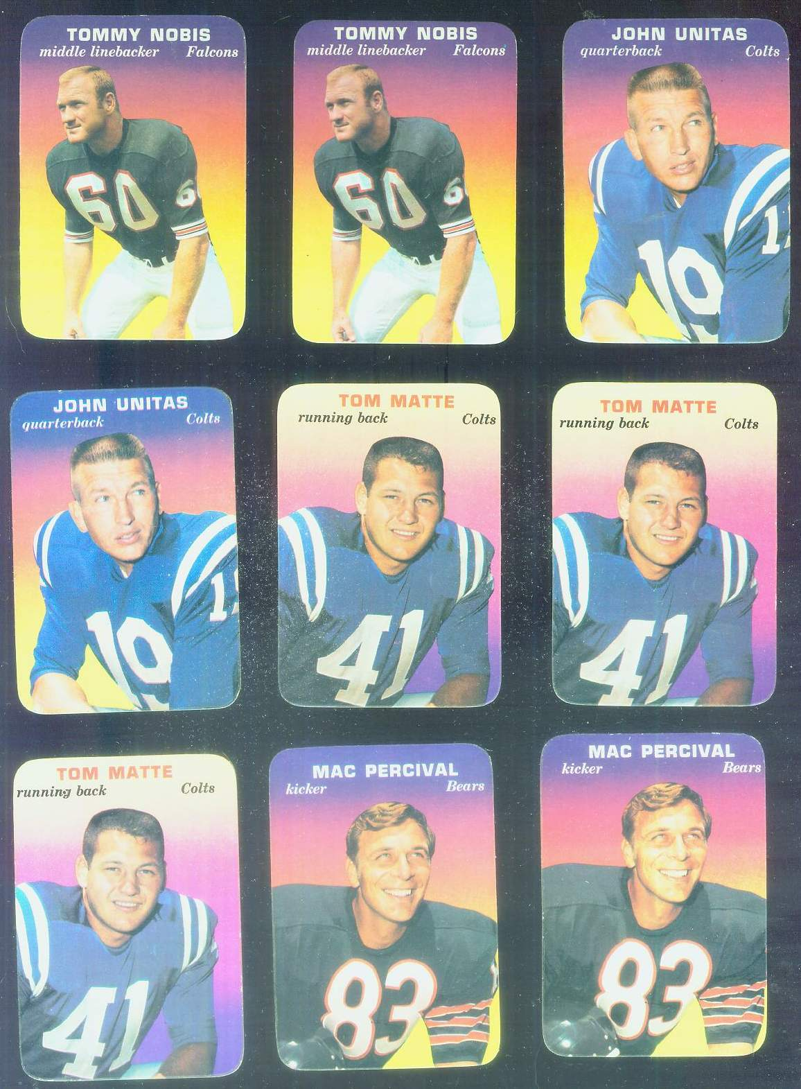 1970 Topps Glossy FB Inserts #.1 Tommy Nobis (Falcons) Football cards value