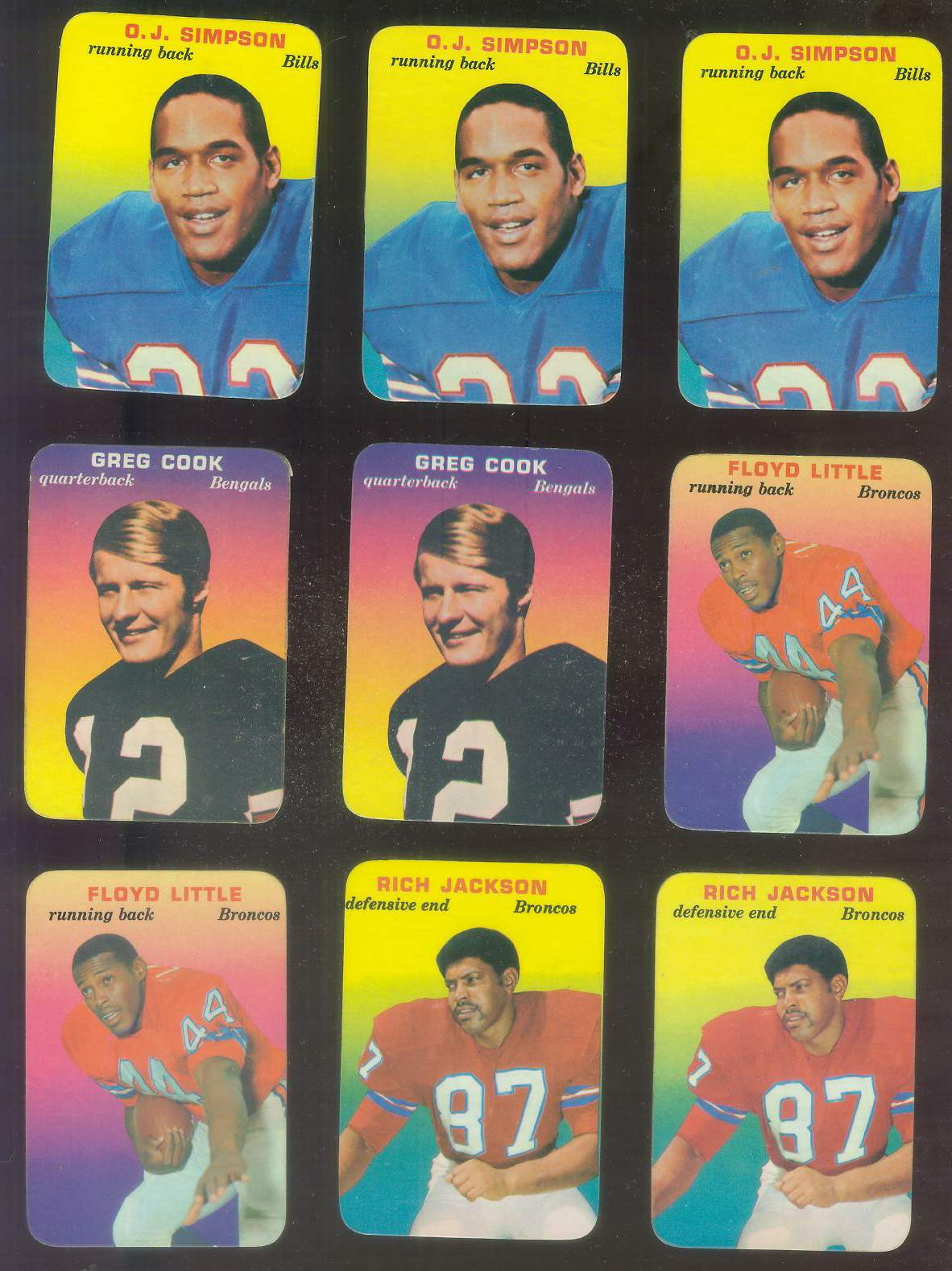 1970 Topps Glossy FB Inserts #22 O.J. Simpson ROOKIE (Bills) Football cards value