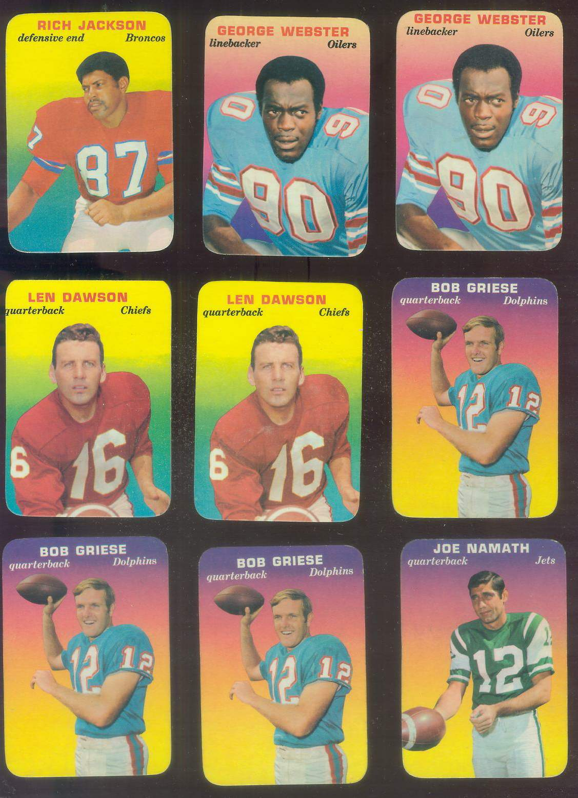 1970 Topps Glossy FB Inserts #28 Bob Griese (Dolphins) Football cards value