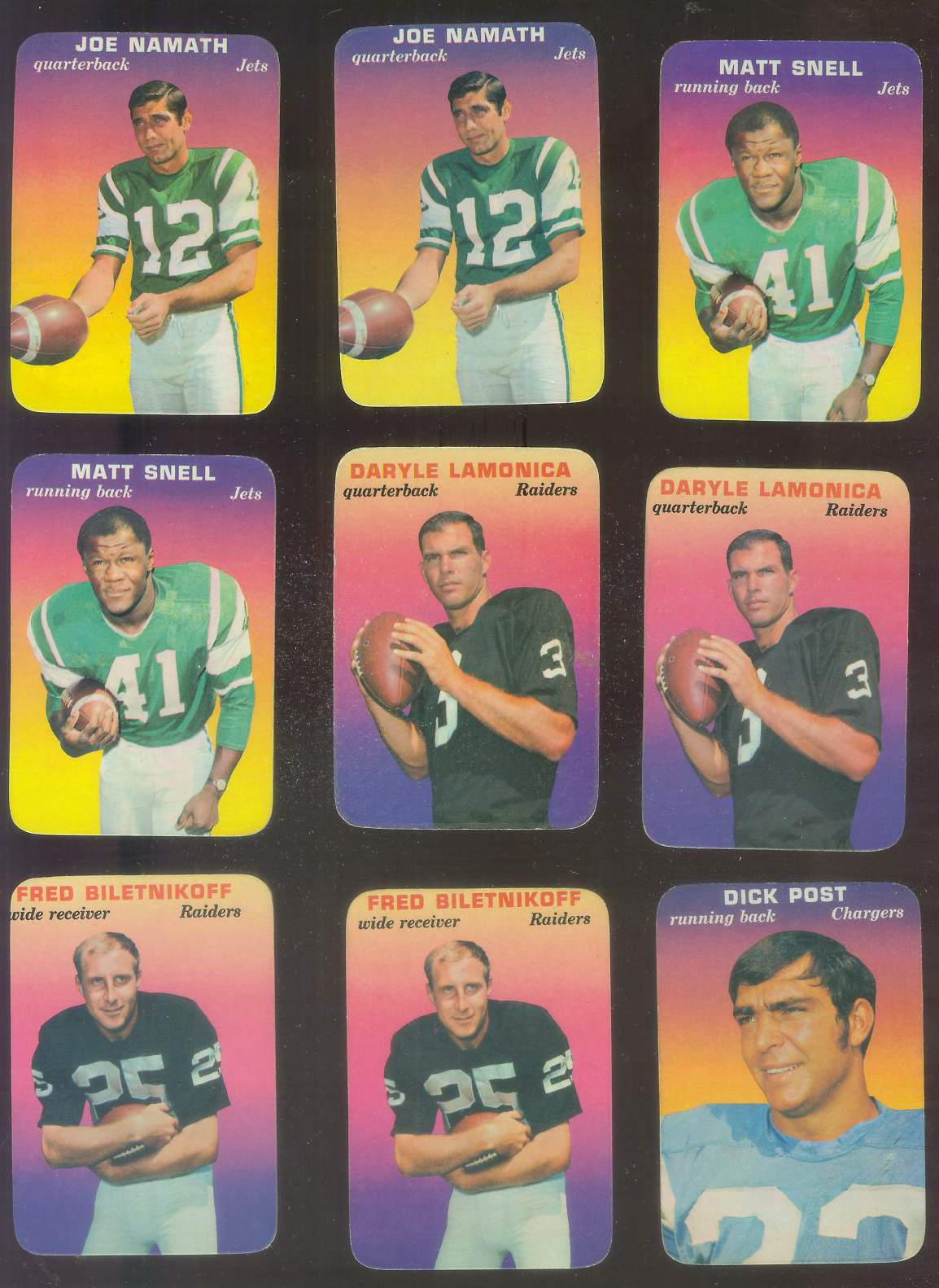 1970 Topps Glossy FB Inserts #29 Joe Namath (Jets) Football cards value