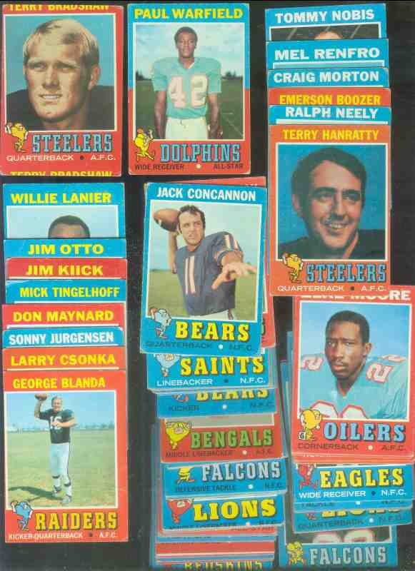1971 Topps  Football - Starter Set/Lot (111) w/STARS,ROOKIES,HALL-of-FAMERS Football cards value