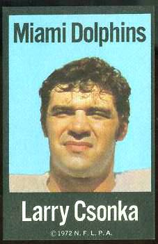Larry Csonka - 1972 NFLPA FABRIC FB card Football cards value