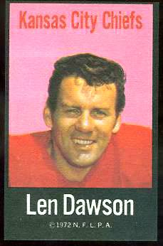 Len Dawson - 1972 NFLPA FABRIC FB card Football cards value