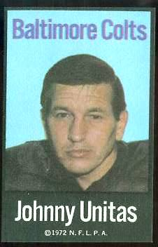 Johnny Unitas - 1972 NFLPA FABRIC FB card Football cards value