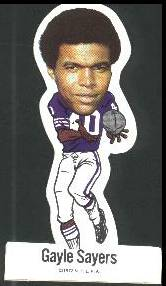 Gayle Sayers - 1972 Vinyl Sticker FB Football cards value