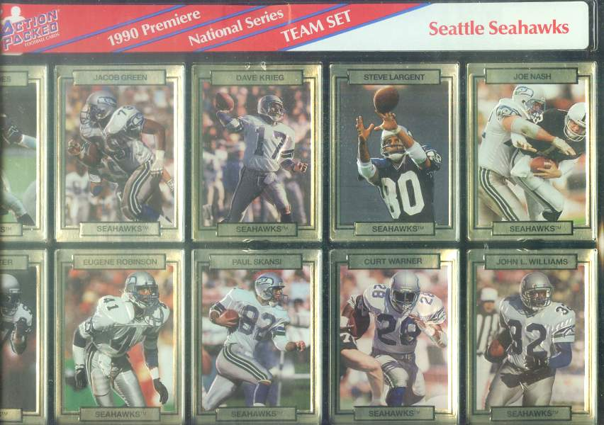 Seattle Seahawks - CASE of (20) 1990 Action Packed FACTORY TEAM SETS Football cards value