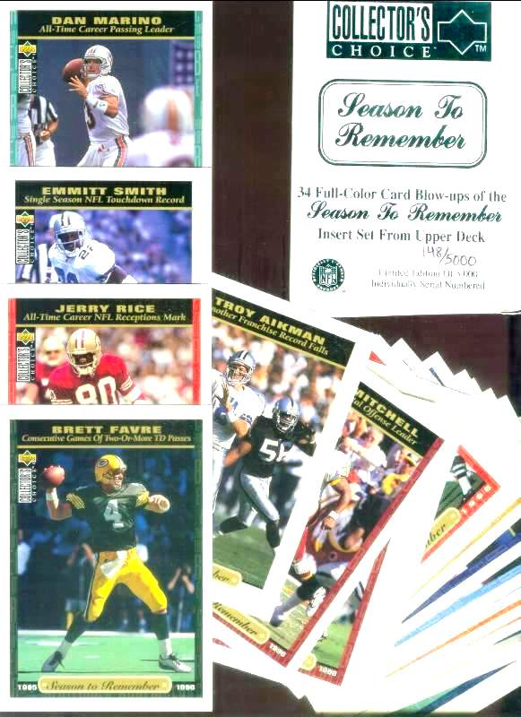 1996 Coll. Choice - 'Season To Remember' - COMPLETE JUMBO Set (3-1/2x5) Football cards value