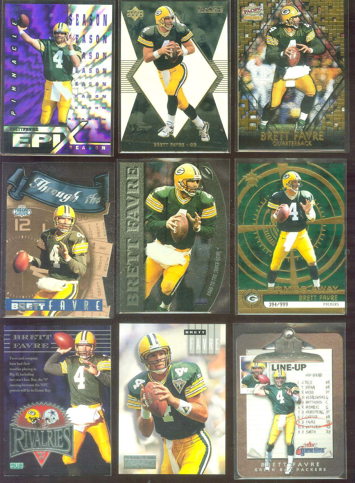 1998 Black Diamond Rookies 'White Onyx' #ON4 Brett Favre Football cards value