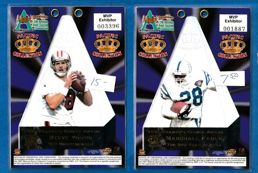 1995 Pacific CRAMER's CHOICE JUMBO - STEVE YOUNG MVP Exhibitor's BADGE Football cards value