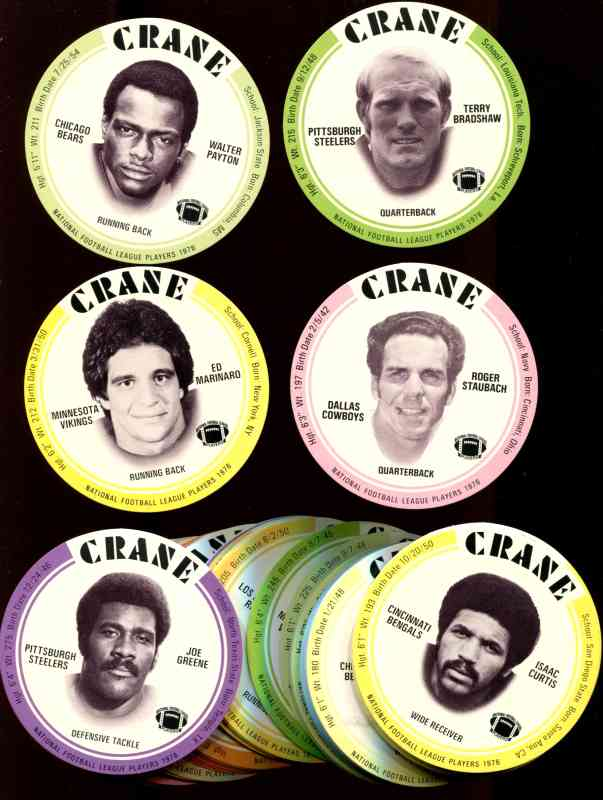 1976 Crane FB Discs  - Lot of (80+) assorted with WALTER PAYTON ROOKIE ! Football cards value