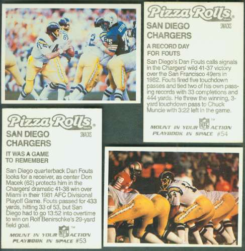 1986 Jeno's Pizza FB #53-54 DAN FOUTS - (10) LOTS of (2) different Football cards value