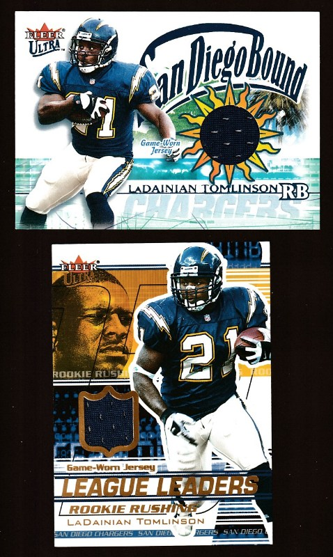 LaDainian Tomlinson - 2002 Ultra San Diego Bound GAME-USED JERSEY (Chargers Baseball cards value