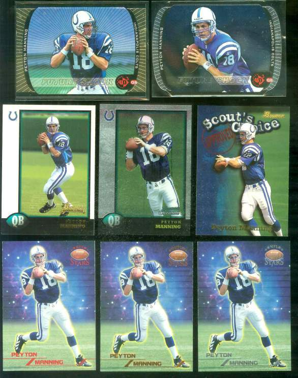 1998 Bowman #1 Peyton Manning ROOKIE Football cards value