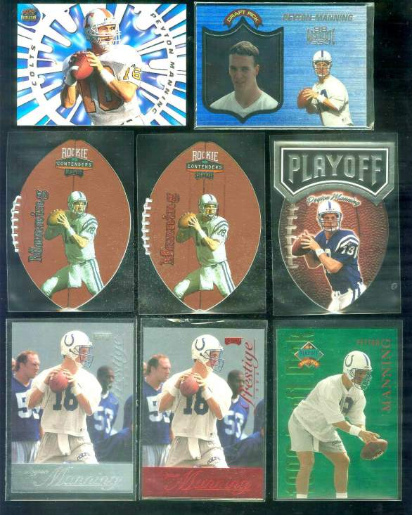 1998 Playoff Prestige 'Draft Picks GREEN' #1 Peyton Manning ROOKIE Football cards value