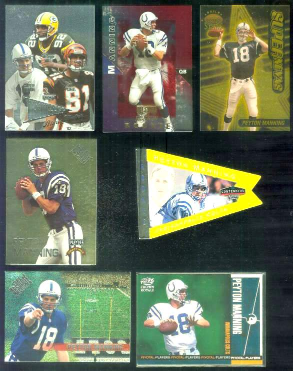 1998 Playoff Contenders 'Pennants' #42 Peyton Manning ROOKIE YELLOW Baseball cards value