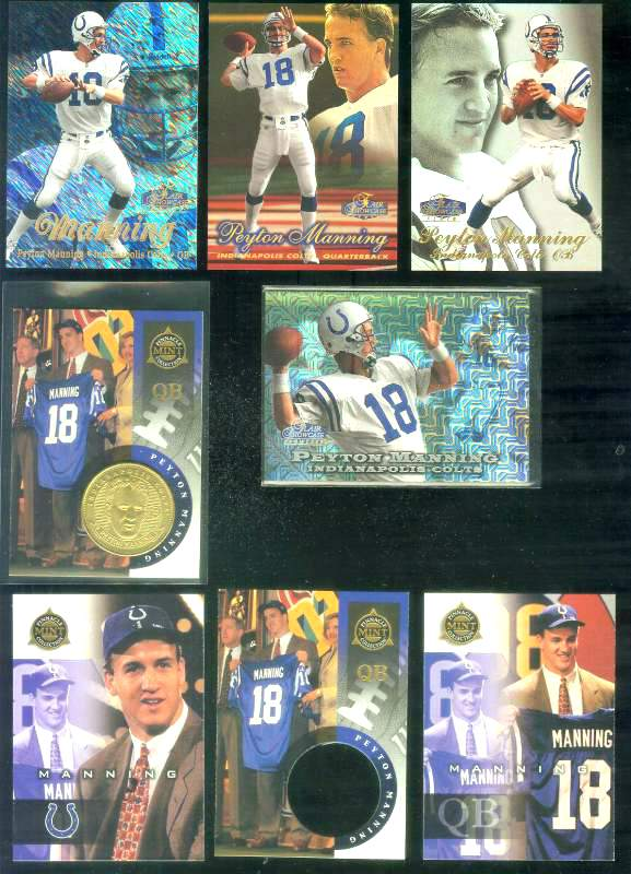1998 Flair Showcase 'ROW 3' #3 Peyton Manning ROOKIE Football cards value