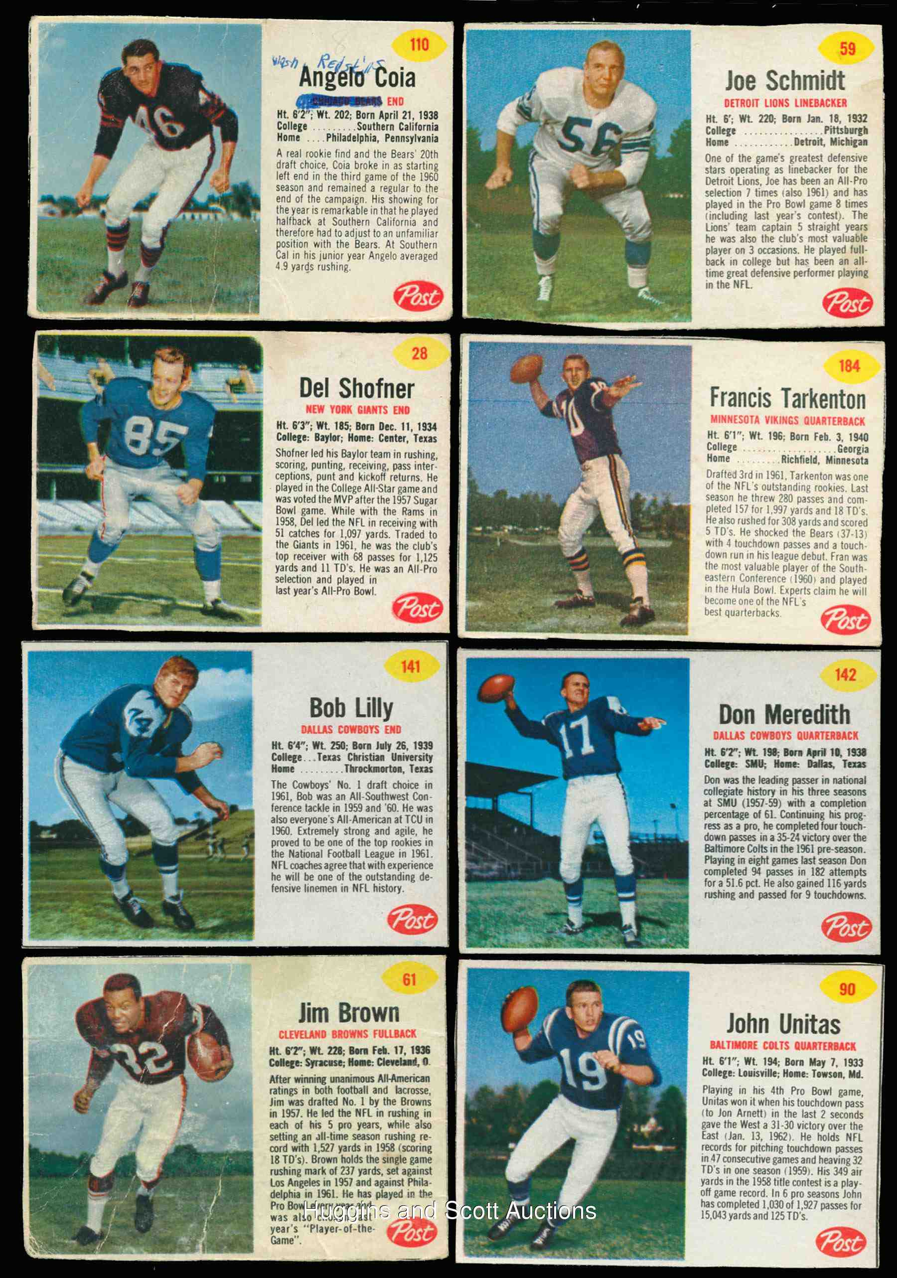 1962 Post Cereal FB #184 Fran Tarkenton ROOKIE (Vikings) Football cards value