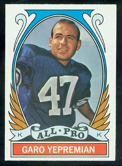 1972 Topps FB #275 Garo Yepremian VERY SCARCE SHORT PRINT (Dolphins) Football cards value