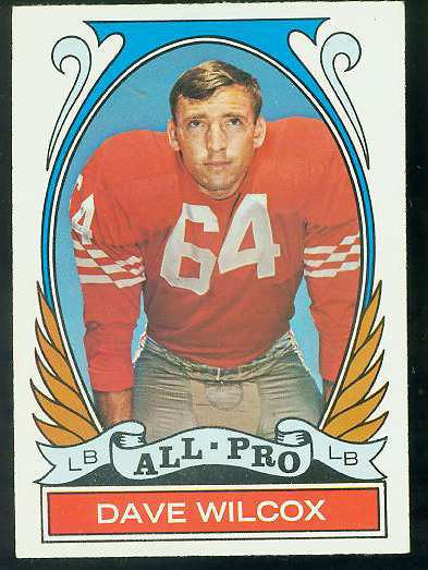 1972 Topps FB #282 Dave Wilcox [#a] VERY SCARCE SHORT PRINT (49ers) Football cards value
