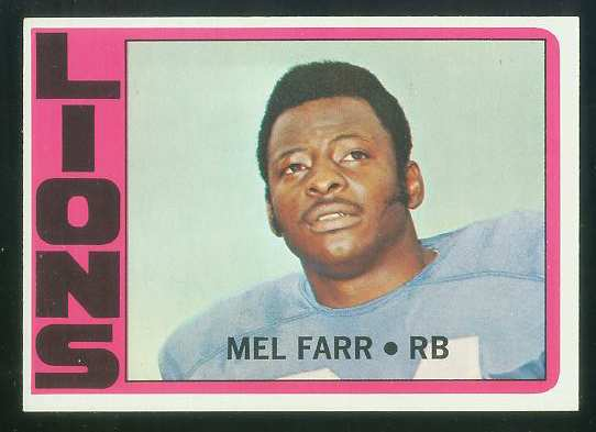 1972 Topps FB #288 Mel Farr VERY SCARCE SHORT PRINT (Lions) Football cards value