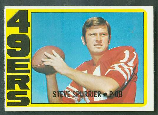 1972 Topps FB #291 Steve Spurrier ROOKIE VERY SCARCE SHORT PRINT (49ers) Football cards value