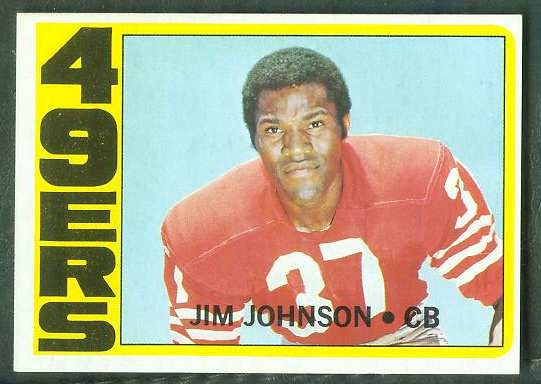 1972 Topps FB #332 Jim Johnson VERY SCARCE SHORT PRINT (49ers) Football cards value
