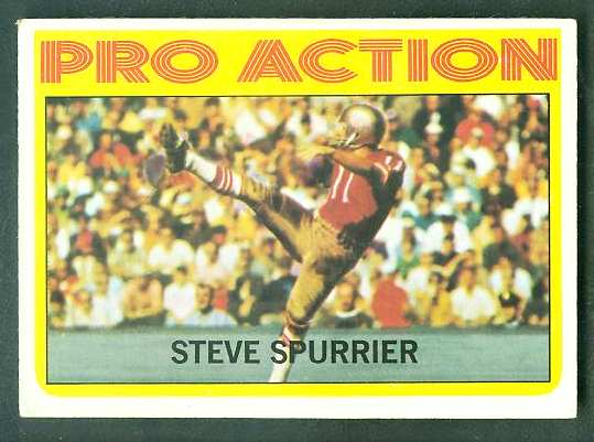 1972 Topps FB #338 Steve Spurrier IA VERY SCARE SHORT PRINT (49ers) Football cards value