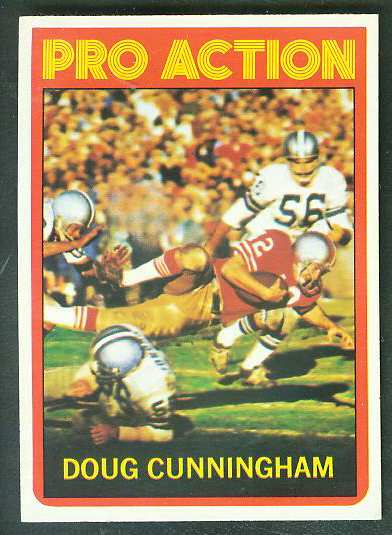 1972 Topps FB #345 Doug Cunningham IA [#a] VERY SCARE SHORT PRINT (49ers) Football cards value