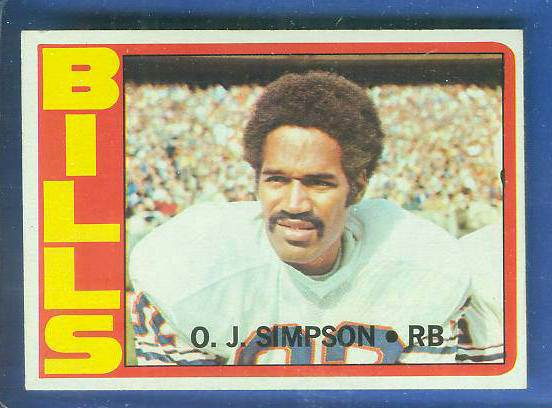 1972 Topps FB #160 O.J. Simpson (Bills) Football cards value