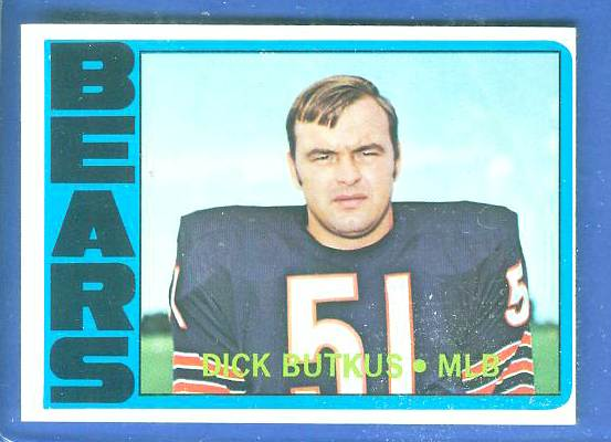 1972 Topps FB #170 Dick Butkus [#b] (Bears) Football cards value