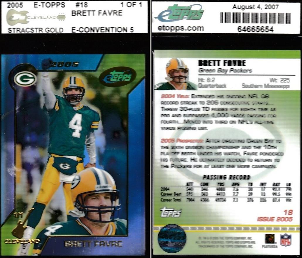 Brett Favre 2005 E Toppsetopps 18 1 Of 1 Cleveland