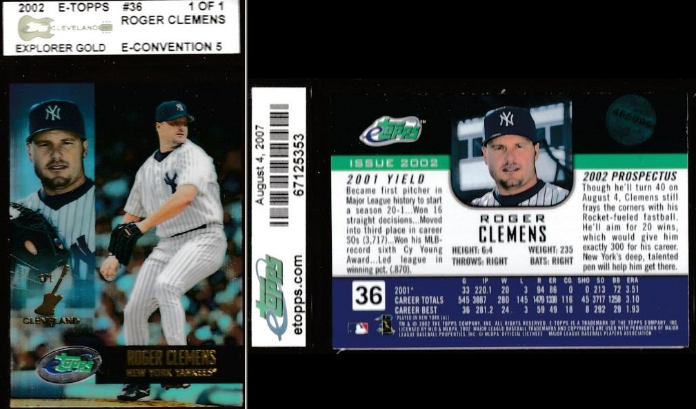 ROGER CLEMENS - 2002 E-Topps/ETopps #36 [1-of-1 CLEVELAND] (Yankees) Baseball cards value