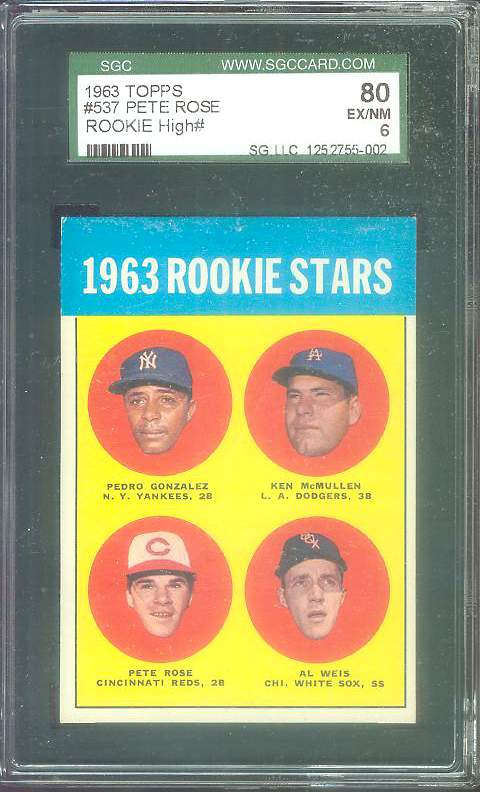 1963 Topps #537 PETE ROSE ROOKIE [#b] SCARCE HIGH SERIES (Reds) Baseball cards value