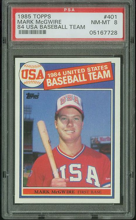 Mark McGwire - 1985 Topps #401 ROOKIE [PSA-8 NM/MINT] (USA Olympic) Baseball cards value