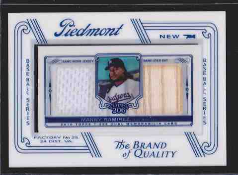 Manny Ramirez - 2010 Topps T-206 DUAL RELIC GAME-USED Bat/Jersey card Baseball cards value
