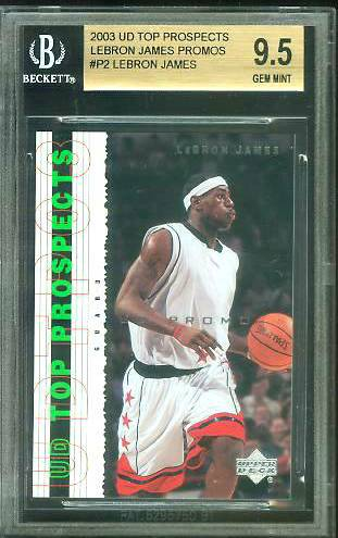 Lebron James - 2003-04 UD Top Prospects ROOKIE PROMO #P2 [GEM MINT BGS-9.5] Baseball cards value