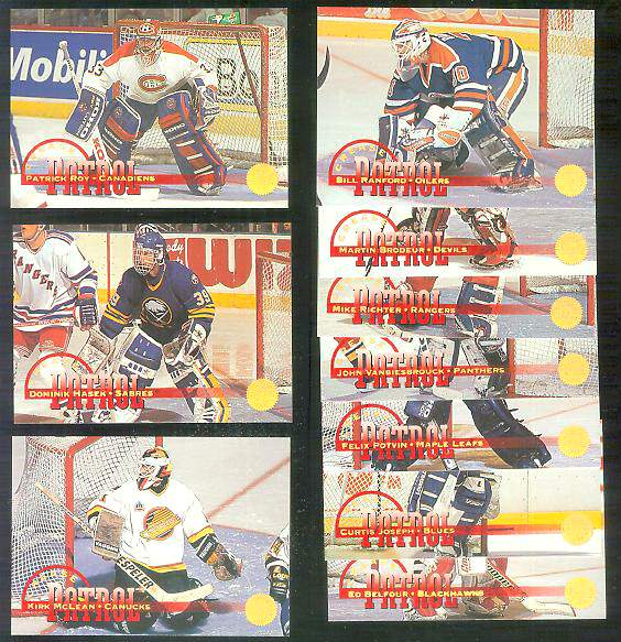 1994-95 Leaf 'CREASE PATROL' - COMPLETE 10-card INSERT SET Hockey cards value