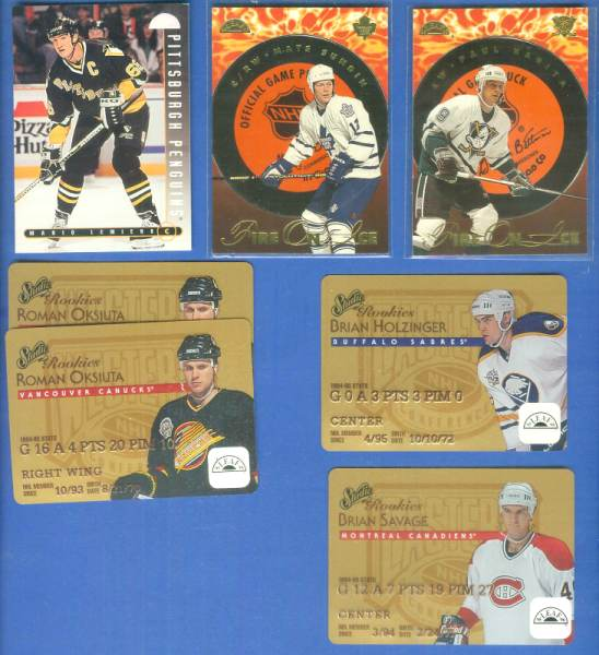 1995-96 Leaf  - Lot of (6) inserts + 1995-96 Leaf Mario Lemeiux Hockey cards value