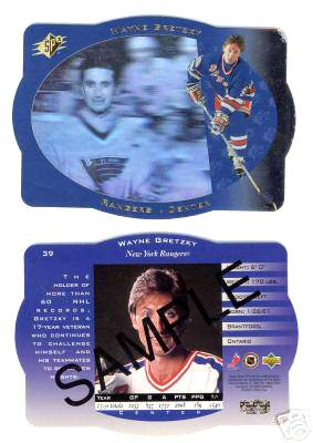 Wayne Gretzky - 1996-97 SPx 'SAMPLE' PROMO CARD #39 Hockey cards value