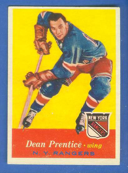 1957-58 Topps Hockey #62 Dean Prentice (1st Topps card) (Rangers) Hockey cards value