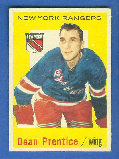 1959-60 Topps Hockey #17 Dean Prentice (Rangers) Hockey cards value