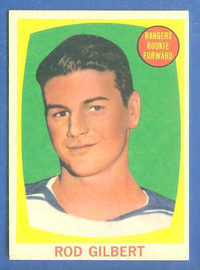 1961-62 Topps Hockey #62 Rod Gilbert ROOKIE Hockey cards value