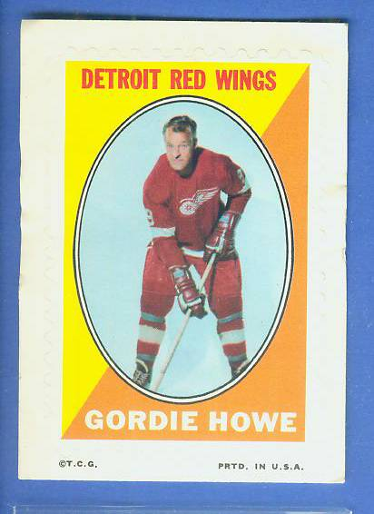 1969-70 O-Pee-Chee/OPC Hockey STAMPS - GORDIE HOWE (Red Wings) Hockey cards value
