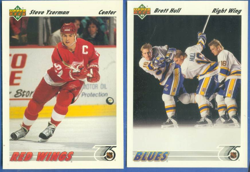 1991-92 Upper Deck BOX BOTTOMS - Lot of (2) Brett Hull & Steve Yzerman Hockey cards value