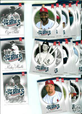 Ozzie Smith - 2002 Upper Deck HEROES of BASEBALL Complete Set (10 cards) Baseball cards value
