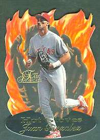 1997 Flair Showcase 'HOT GLOVES' #.3 Juan Gonzalez (Rangers) Baseball cards value