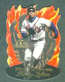 1997 Flair Showcase 'HOT GLOVES' #.9 Kenny Lofton (Braves) Baseball cards value